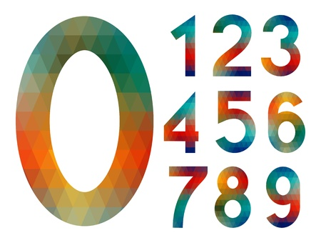 Number set from colorful mosaic isolated on white Stock Vector - 18846378