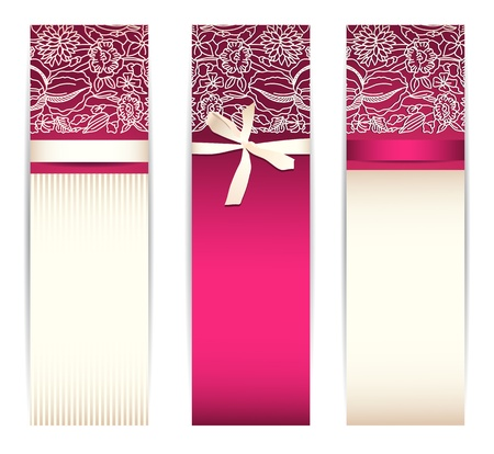 moño rosa: Conjunto de banners de color rosa brillante con la cinta de seda y encaje aislado en blanco Vectores