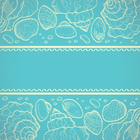Sea card with drawing seashells on bllue background Vector