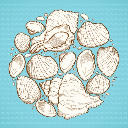 Seashell round design element on blue background with waves Vector