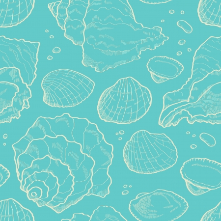 cockleshells: Seashell sketch seamless  Sea pattern Illustration