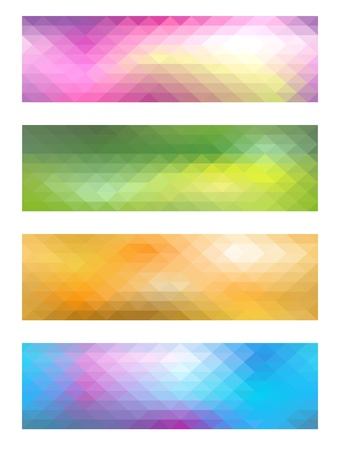 sea green: Set from colorful mosaic banners