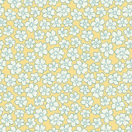 Small flowers on yellow background in retro style Stock Vector - 19096577