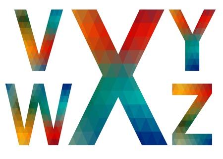v alphabet: Mosaic letters of English alphabet  V, W, X, Y, Z