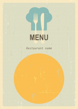 mid century: Mid century restaurant menu cover. Retro menu. Illustration