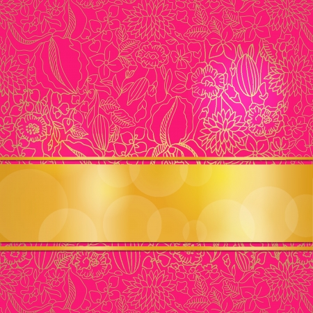 Bright pink card with ornamental pattern and ribbon.  Stock Vector - 20689707