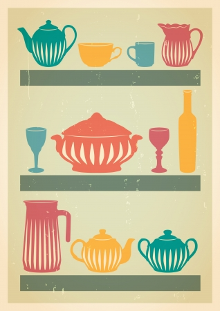Mid century dishes set Stock Vector - 20689950