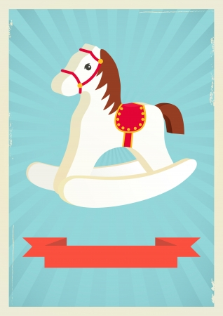 Hobby horse background in retro style Vector