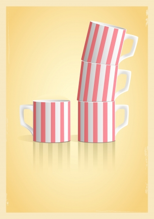 Coffee cups on yellow background. Illustration in retro style Vector