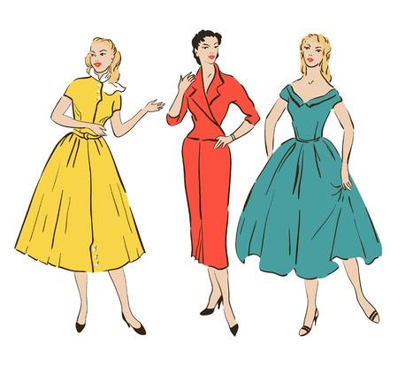 hair pins: Retro girls in mid century style