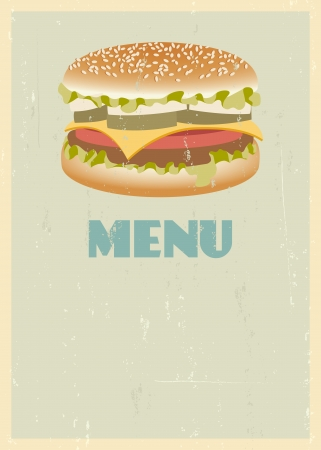 mid century: Mid century restaurant menu cover. Retro menu with hamburger.  Illustration