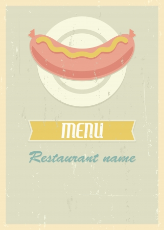 mid century: Mid century restaurant menu cover. Retro menu with sausage on plate.