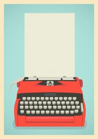 type writer: Illustrazione met� secolo con macchina da scrivere retr� e foglio di carta Vettoriali