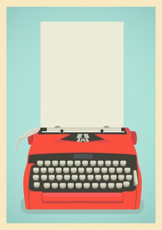 type writer: Mid century illustration with retro typewriter and paper sheet