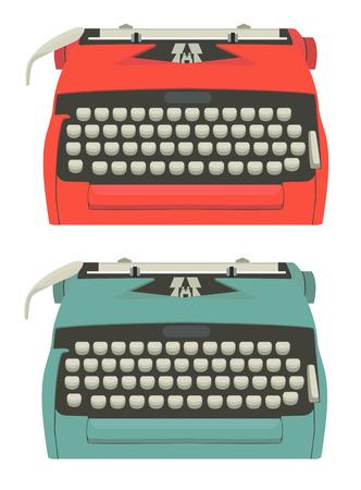 type writer: Illustrazione met� secolo di macchine da scrivere isolato su bianco