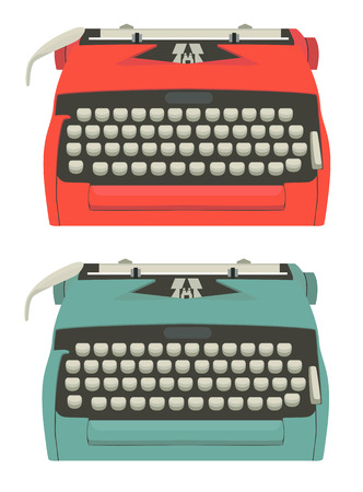 typewriting machine: Mid century illustration of typewriters isolated on white