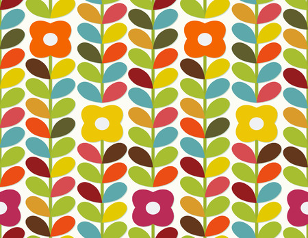 Bright floral ornament in scandinavian style  Seamless Vector