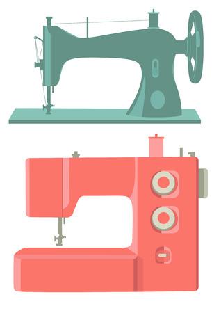 maquina de coser: Máquinas retro y modernos de coser aislados en blanco Vectores