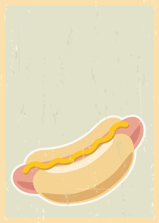 Retro background with hot dog and grunge texture Vector