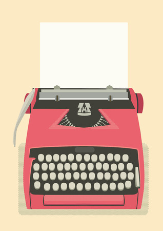old typewriter: Mid century illustration with retro typewriter and paper sheet