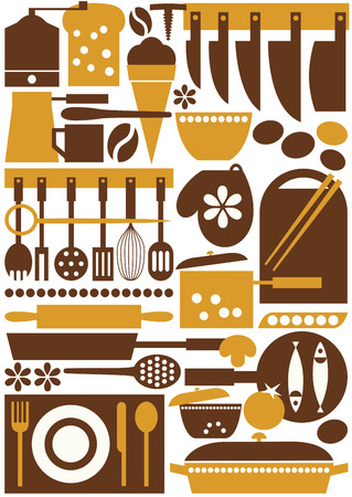 Seamless pattern with kitchenware icons Vector