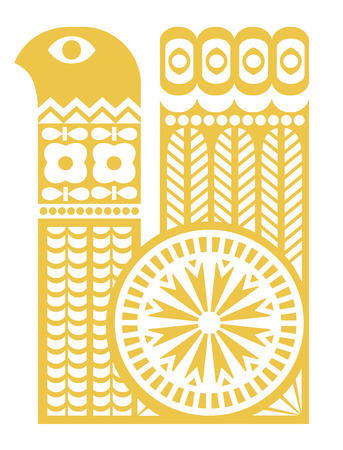 Yellow bird silhouette in scandinavian style. Design element Vector