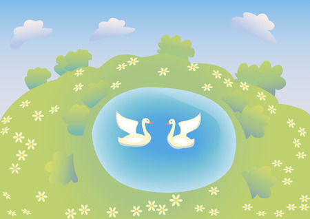 White geese and blue lake Illustration