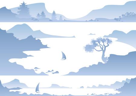 sailing vessel: Panorama de las monta�as azules, el mar y un barco de vela