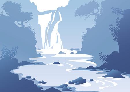 滝と青い山の風景  イラスト・ベクター素材