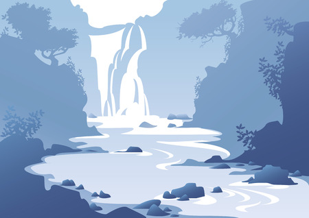 blue mountain landscape with a waterfall Illustration