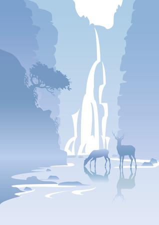 paysage de montagne bleu avec une chute d'eau et les cerfs