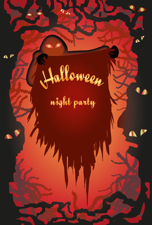 the thick forest: Happy Halloween message design background with the Ghost