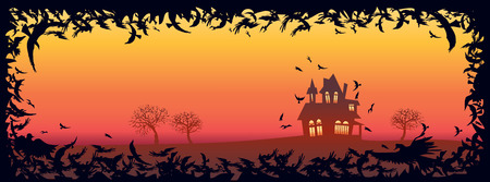 the thick forest: Happy Halloween message design background Illustration