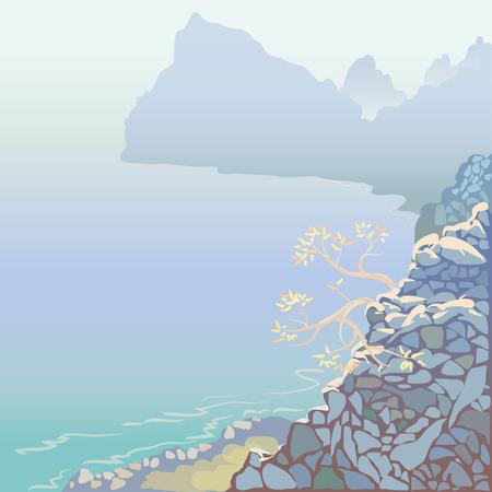 The Crimean landscape with high cliffs Illustration