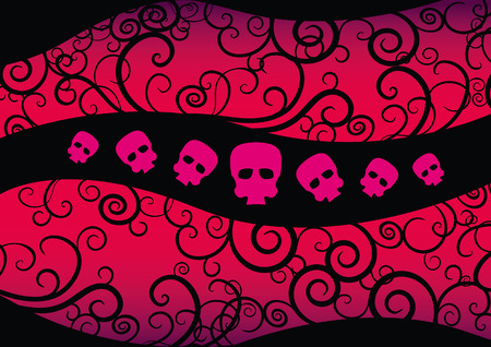Emo Background with hearts and skulls. Girlish fashion design suitable for t-shirt print.