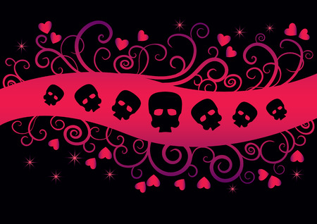emo: Emo Background with hearts and skulls. Girlish fashion design suitable for t-shirt print Illustration