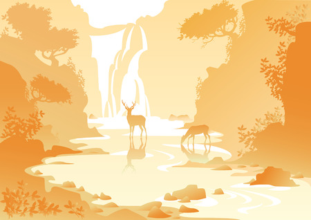 yellow mountain landscape with a waterfall and deer