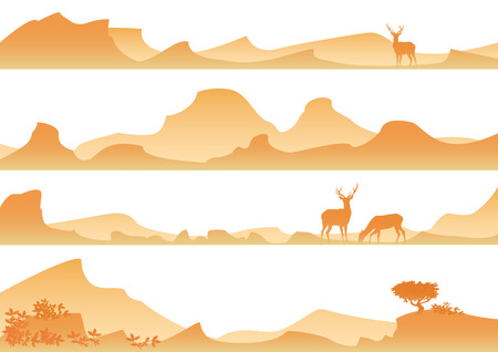 free range: Landscape with yellow mountains and deer Illustration