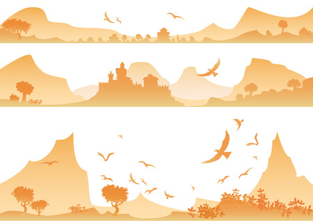free range: Landscape with yellow mountains,birds and palace