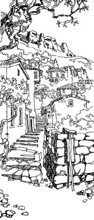 old city: Illustration of the black and white design of the old city. Sketch, hand drawn with ink.Сityscape with stairs