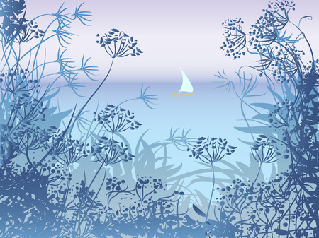 seascape: Evening seascape with sailboat and herbs
