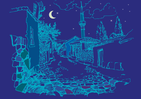 narrow street: View of the old town at night. Sketch, hand drawn. Narrow street with a minaret and old houses Illustration