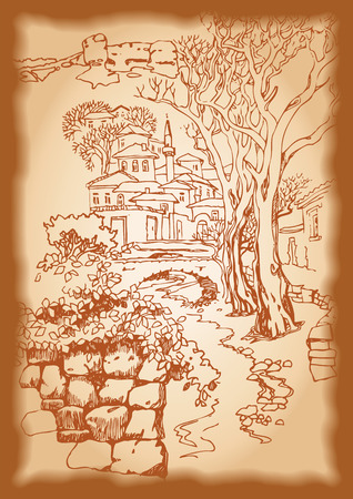 collapsed: Design of the  Bakhchysarai city in the mountains. Sketch, hand drawn with ink. Engraved retro style, effect of sepia Illustration