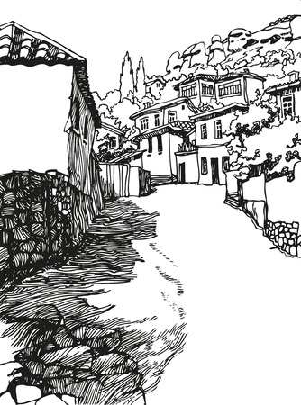 old building facades: Illustration of the black and white design of the old city. Sketch, hand drawn with ink.landscape with mountains and a narrow street