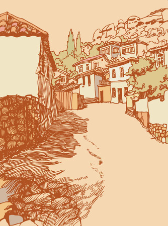 narrow street: Design of the  Bakhchysarai city in the mountains. landscape with a narrow street. Sketch, hand drawn with ink. Engraved retro style, effect of sepia