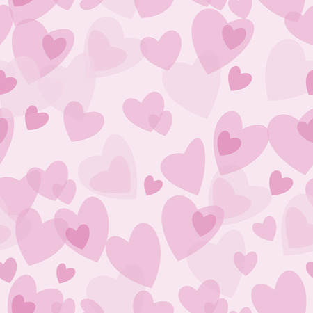 Seamless abstract pattern red and pink hearts on  white background. Design element for scrapbook, fabric, paper. Vector