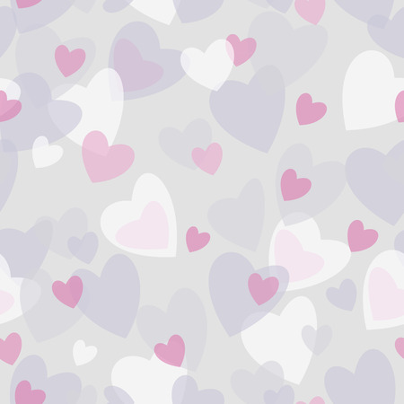 Seamless abstract pattern gray and pink hearts on light background. Design element for scrapbook, fabric, paper. Vector