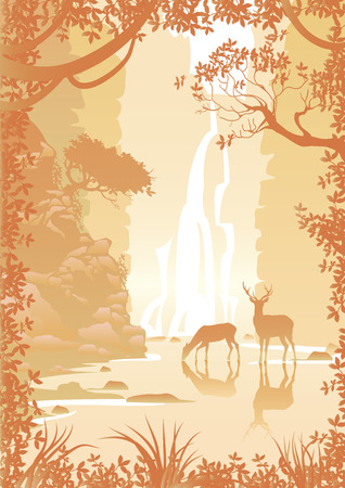 waterfall in forest: Mountain landscape with high cliffs,deer, trees and waterfall. Image of a forest in golden color Illustration