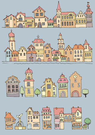 variegated: Set of different color and shape old houses. Facades of variegated buildings in the traditional Dutch style. Sketch, hand drawn Illustration