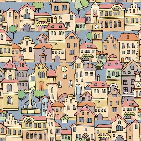 variegated: Seamless pattern with different color and shape old houses.Sketch, hand drawn. Facades of variegated buildings in the traditional Dutch style.